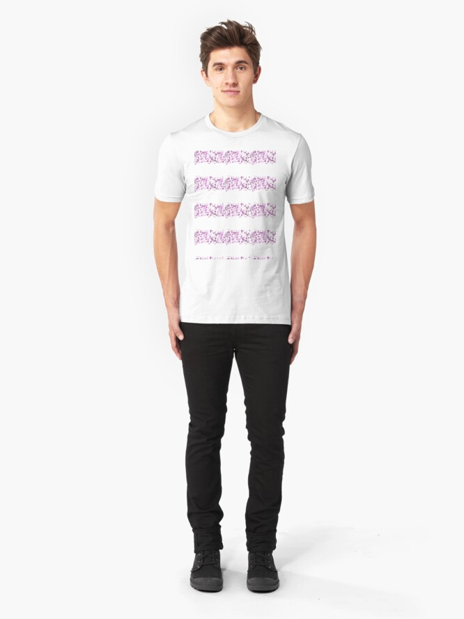 Alternate view of Modern abstract violet purple watercolor geometrical stripes Slim Fit T-Shirt