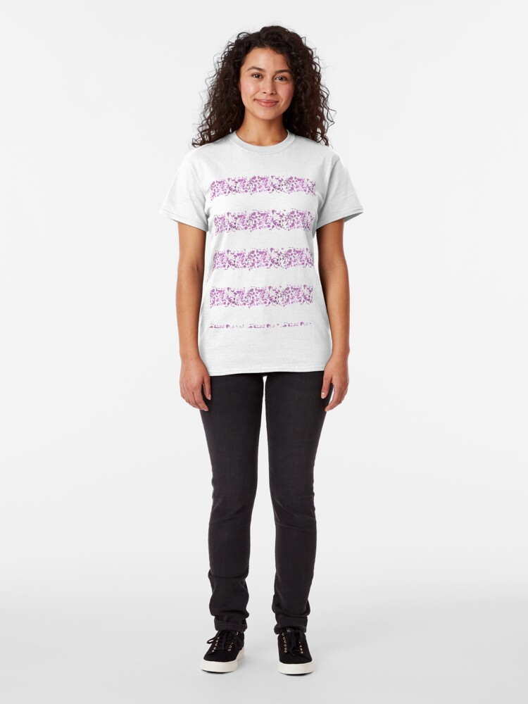 Alternate view of Modern abstract violet purple watercolor geometrical stripes Classic T-Shirt