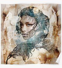 Female portrait framed amongst nature theme Poster