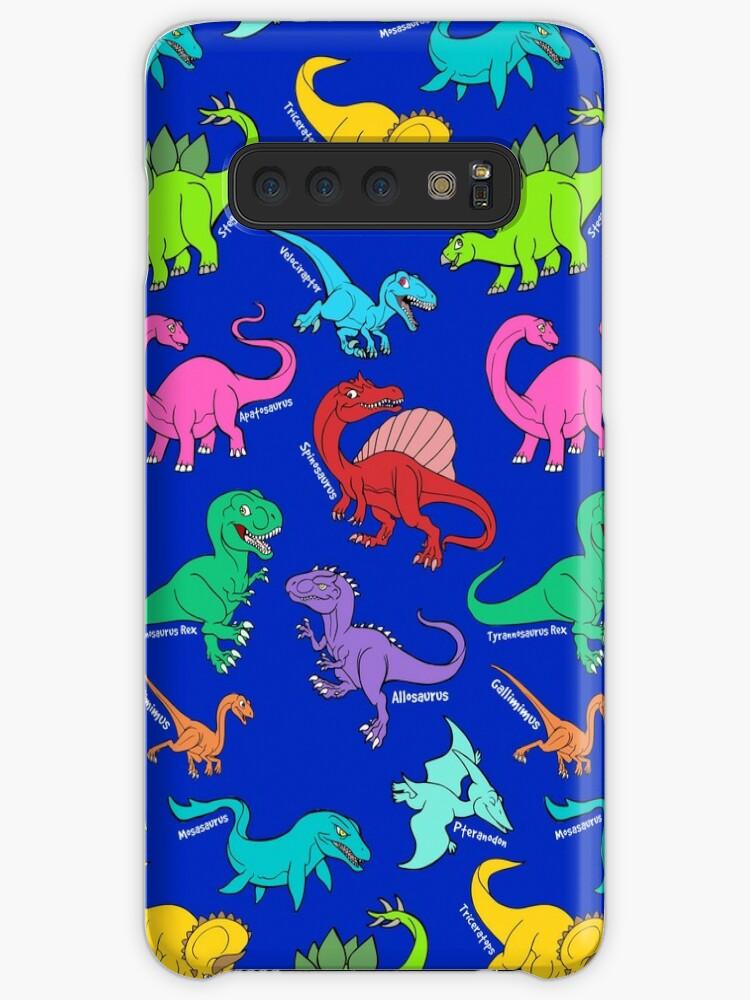 0578dd583a85a Dinosaurs rainbow pattern blue background
