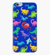 Dinosaurs rainbow pattern blue background iPhone Case
