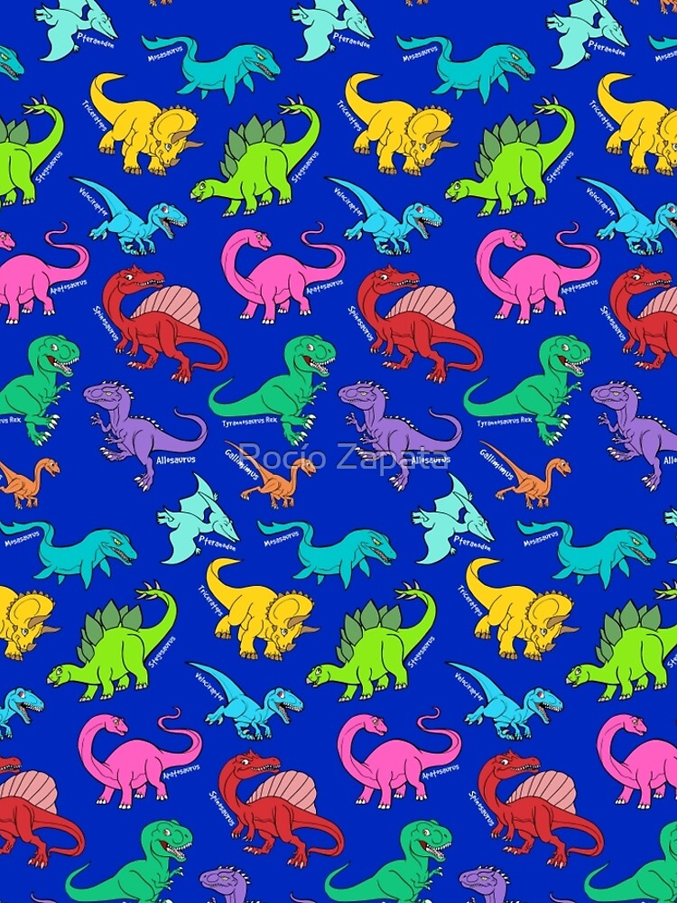 Dinosaurs rainbow pattern blue background by nyctherion