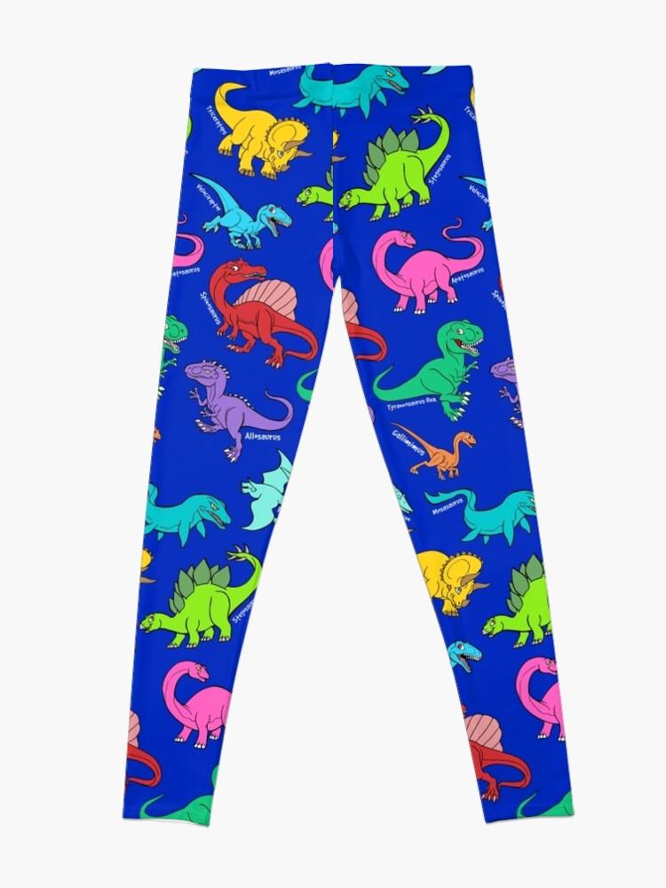 Alternate view of Dinosaurs rainbow pattern blue background Leggings