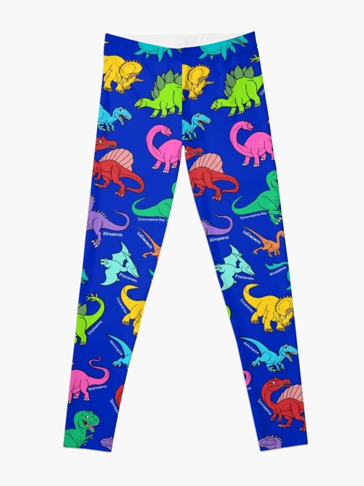 681843acb6b79 Dinosaurs rainbow pattern blue background