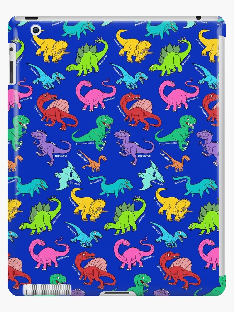6c5e8ea81b05c Dinosaurs rainbow pattern blue background