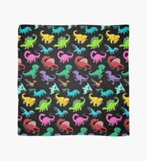 Dinosaurs rainbow pattern blue background Scarf