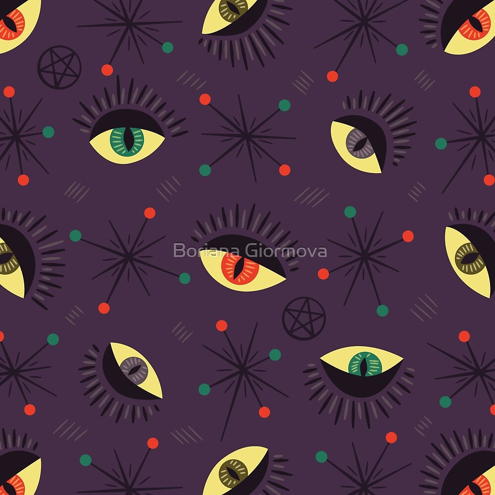 Reptile witch eyes retro pattern  by Boriana Giormova
