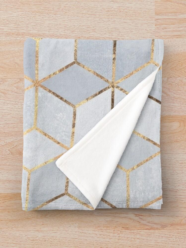 Alternate view of Soft Blue Gradient Cubes Throw Blanket
