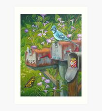Rural Mailboxes, Bird and Butterfly Art Print