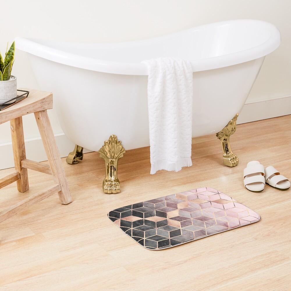 Cubos de color rosa y gris degradado Alfombra de baño