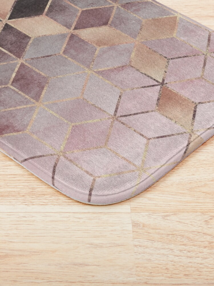 Alternate view of Pink And Grey Gradient Cubes Bath Mat