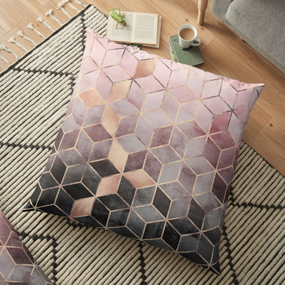 Pink And Grey Gradient Cubes Floor Pillow