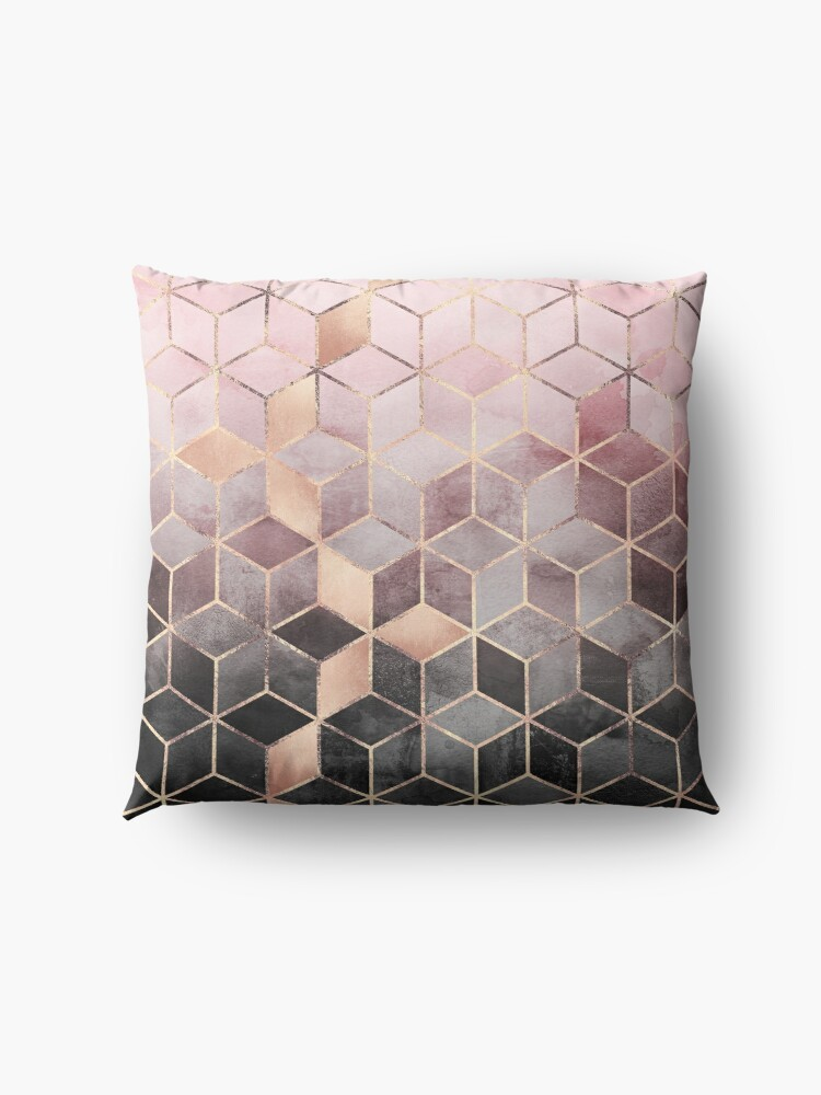 Alternate view of Pink And Grey Gradient Cubes Floor Pillow