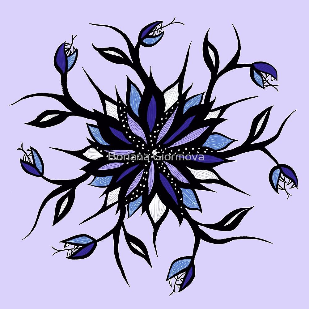 Weird Floral Mandala With Teeth by Boriana Giormova