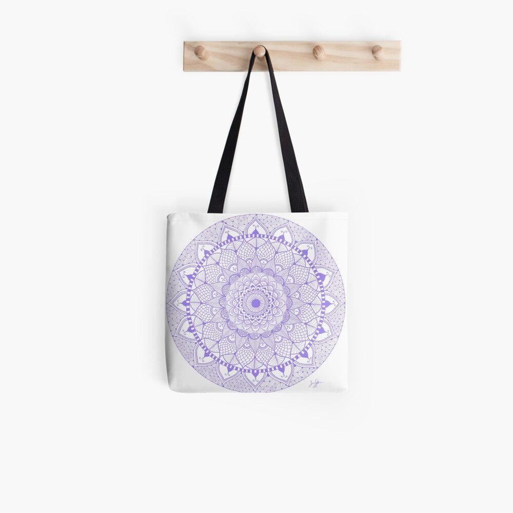 Lila Boho Zentangle Mandala Tote Bag