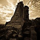 Mow Cop Castle in Sepia by Julie-anne Cooke Photography
