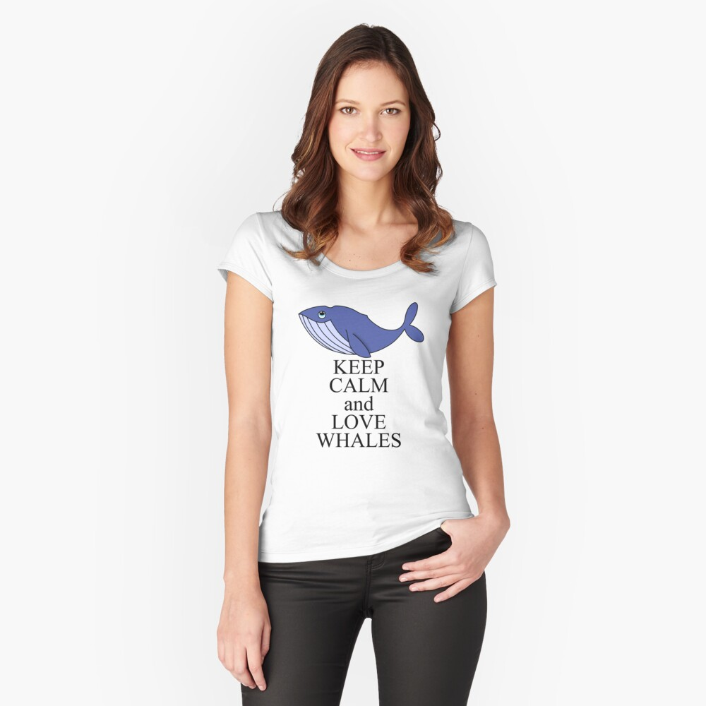 Keep calm and love whales Women's Fitted Scoop T-Shirt Front