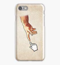 Funny 8bit Nerd & Geek Humor (Creation of Adam Parody) iPhone Case/Skin