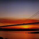 Sunset Over The Forth Road Bridge, Scotland. by Aj Finan