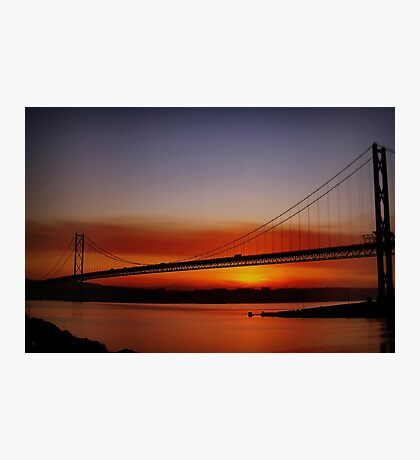 Sunset Over The Forth Road Bridge, Scotland. Photographic Print