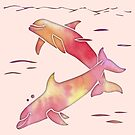 Peach Sea Dolphins by ferinefire