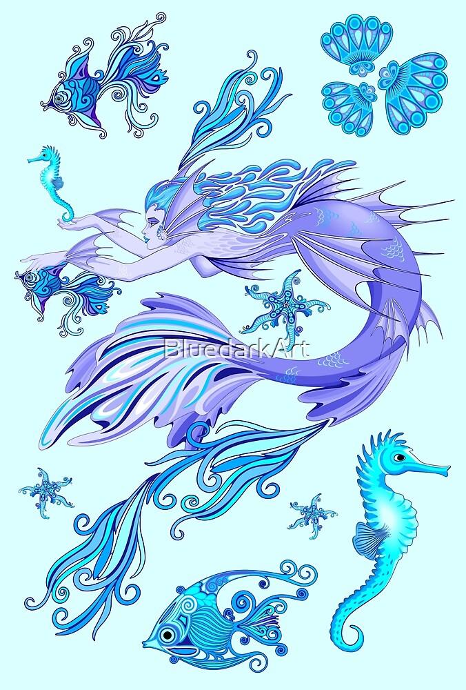 Mystic Mermaid Fairy Purple Creature by BluedarkArt