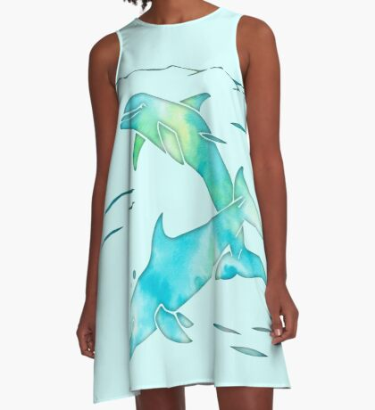 Aqua Sea Dolphins A-Line Dress