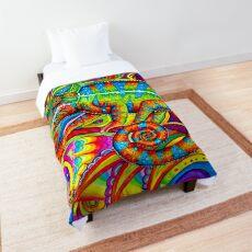 Psychedelizard Psychedelic Chameleon Colorful Rainbow Lizard Comforter