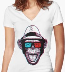 HIPSTER CHIMP - THE CHIMPSTER Women's Fitted V-Neck T-Shirt