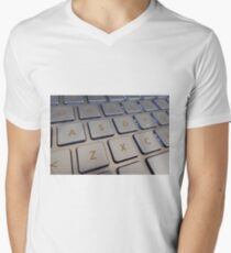 Close-up detail of a QWERTY keyboard of a laptop PC V-Neck T-Shirt