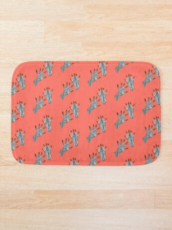 hands on living coral Bath Mat
