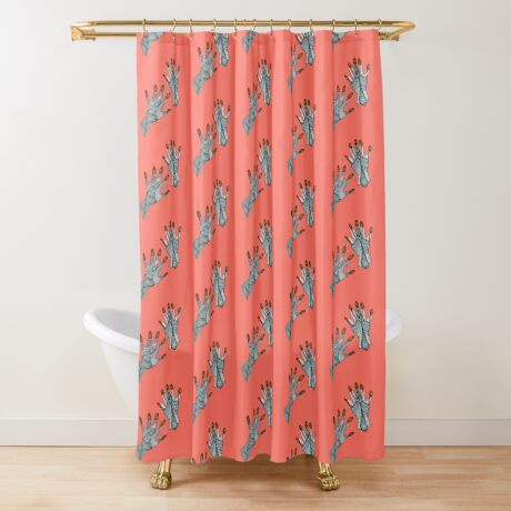 hands on living coral Shower Curtain