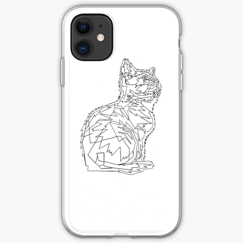 Geometric Cat iPhone Soft Case