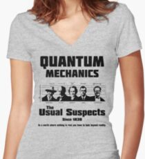 Quantum Mechanics - The Usual Suspects Women's Fitted V-Neck T-Shirt