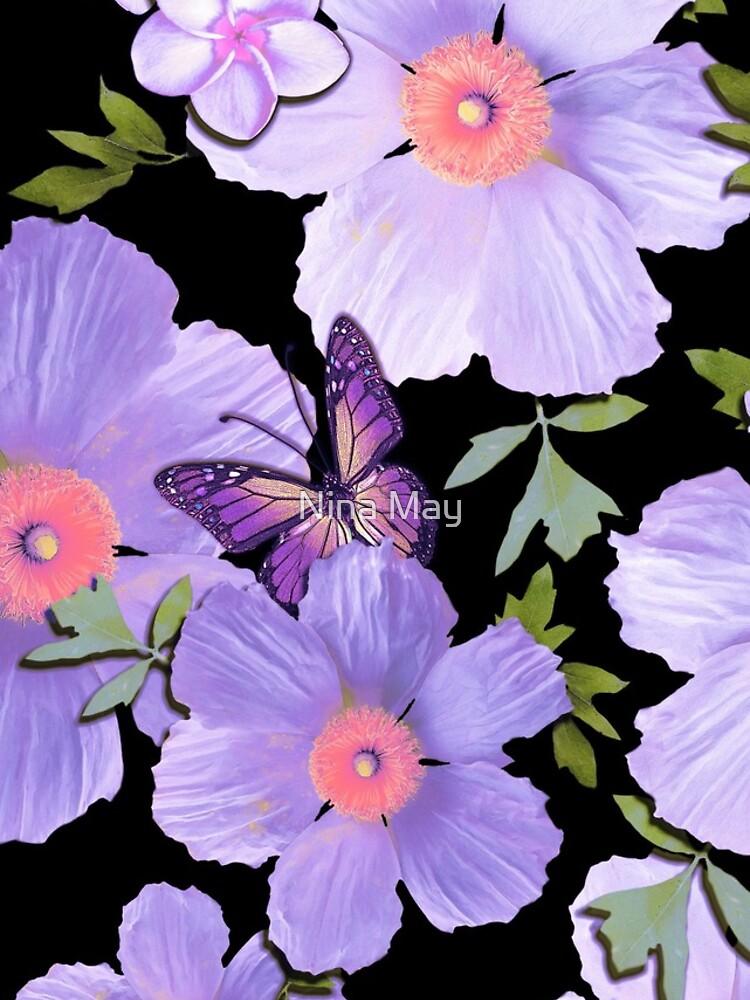 Matilija Poppies and Plumeria Purple by ninabmay