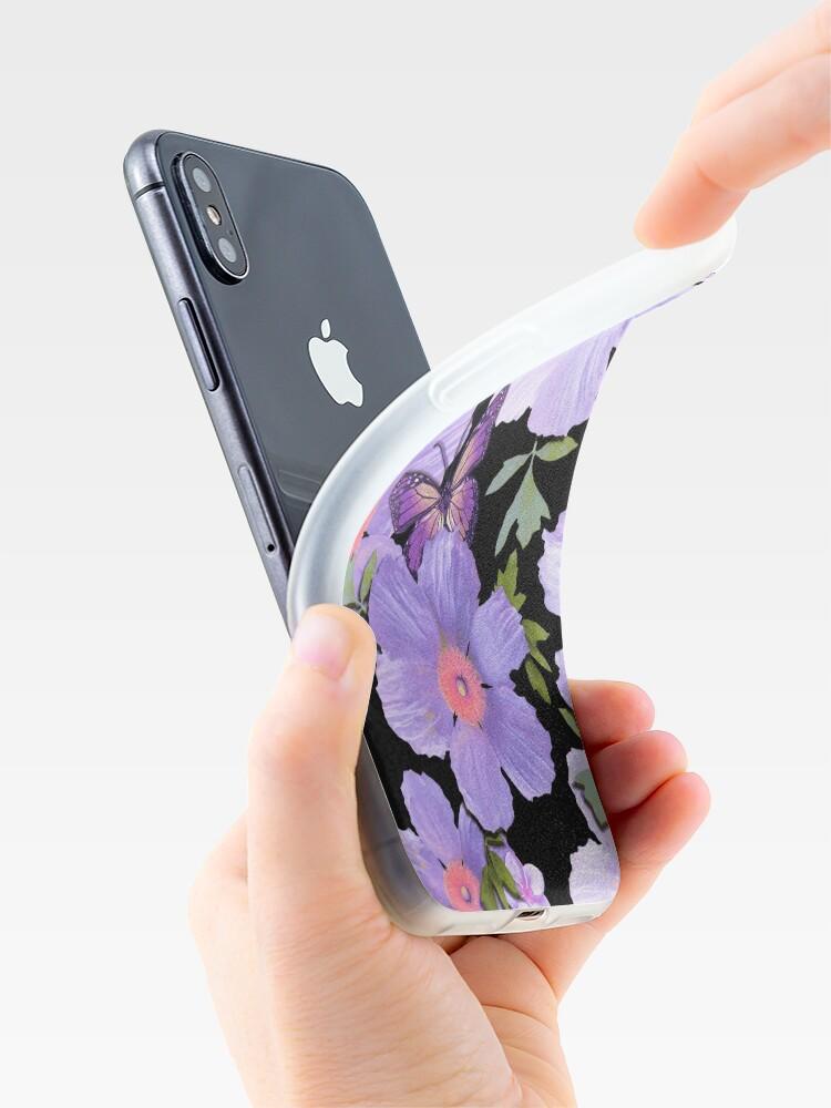 Alternate view of Matilija Poppies and Plumeria Purple iPhone Case & Cover
