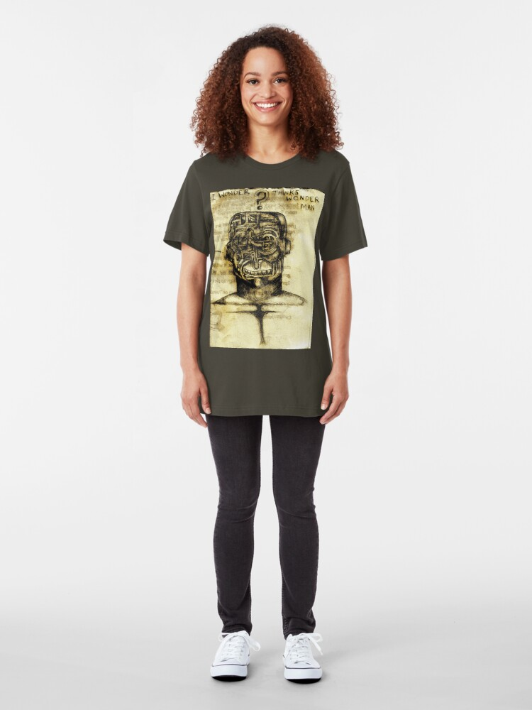 "Alternate view of ""I wonder thinks wonder man"" Slim Fit T-Shirt"
