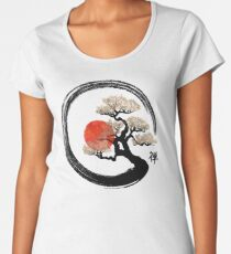 Enso Circle and Bonsai Tree on Canvas Premium Scoop T-Shirt