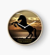 """Horse Shirt, Neighs in the Sunset, """"Always remember your strengths"""" Clock"""