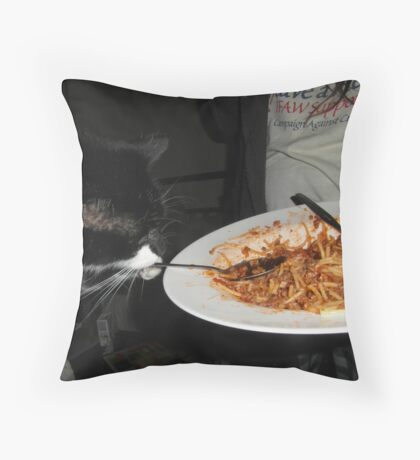 Cat and the Spoon did not jump over the moon Throw Pillow
