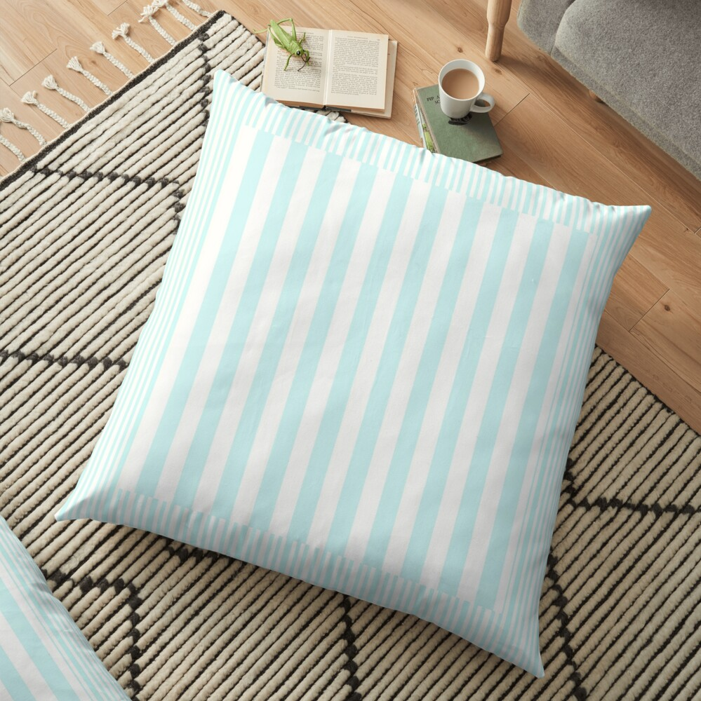 Modern abstract geometric teal white stripes pattern Floor Pillow