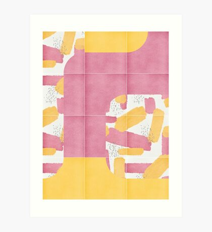 Bold Painted Tiles 01 #redbubble #midmod Art Print