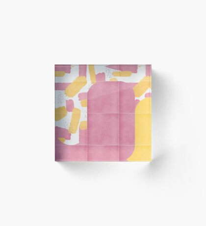 Bold Painted Tiles 02 #redbubble #midmod Acrylic Block