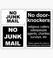 """""""No door-knockers"""" door sign, """"No junk mail"""" letter box sign Sticker"""