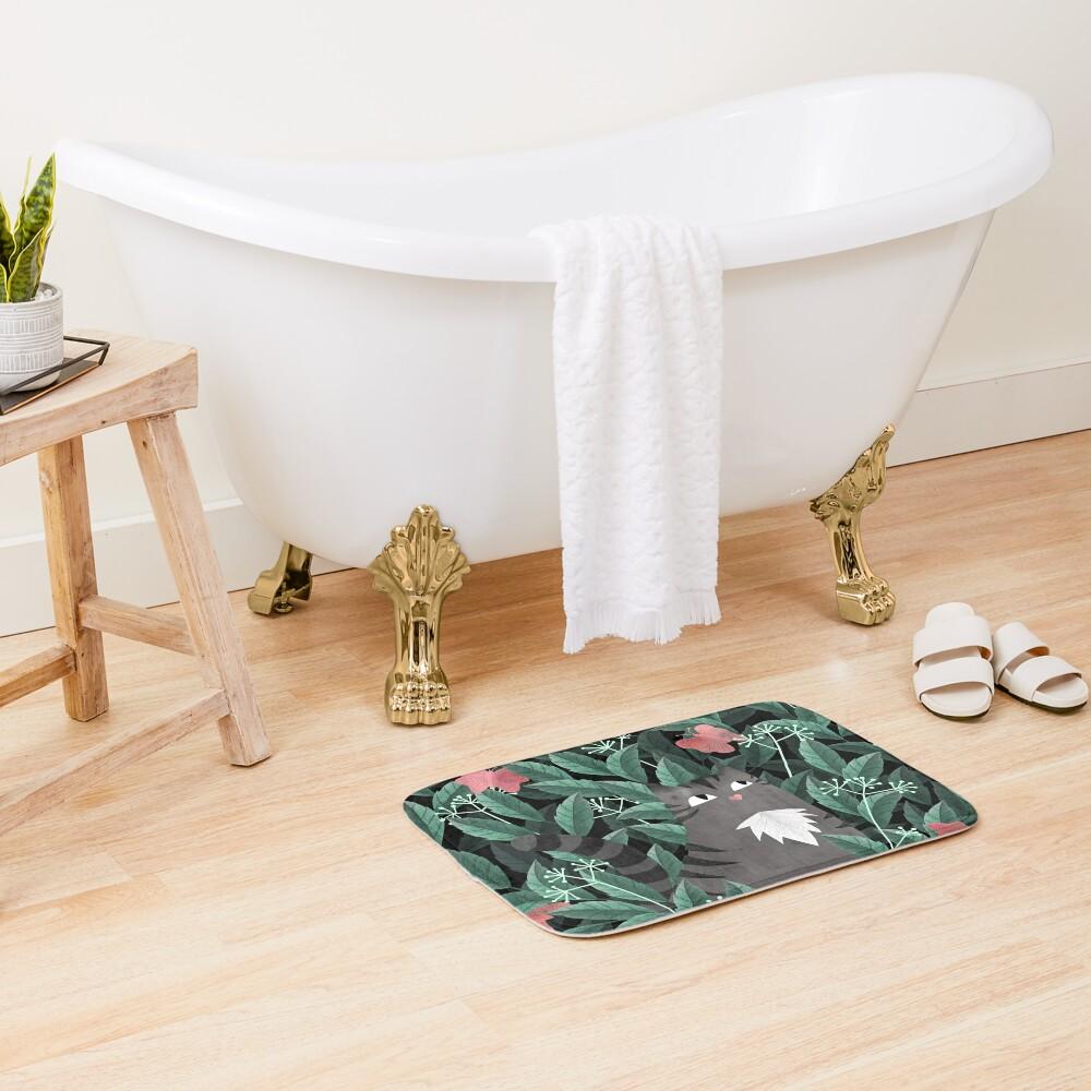 Butterfly Garden (Tabby Cat Version) Bath Mat