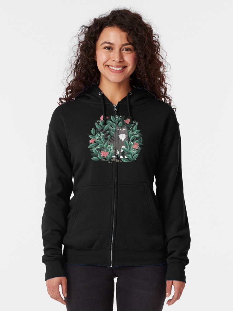 Alternate view of Butterfly Garden (Tabby Cat Version) Zipped Hoodie