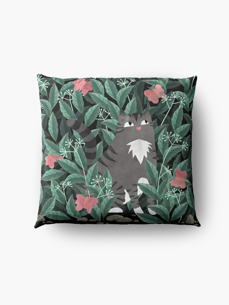 Alternate view of Butterfly Garden (Tabby Cat Version) Floor Pillow