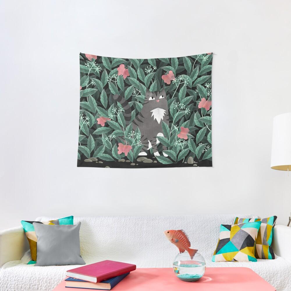 Butterfly Garden (Tabby Cat Version) Tapestry
