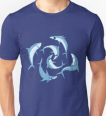 School of Happy Sharks Slim Fit T-Shirt
