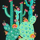 Kaktus-Garten-Acryl - Grün auf Holzkohle von Cat Coquillette